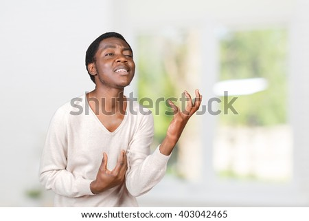Expressive african american man - stock photo