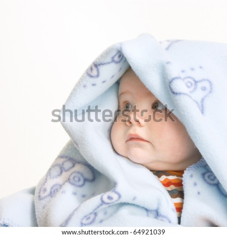 Expressive cute little boy isolated on white background. - stock photo