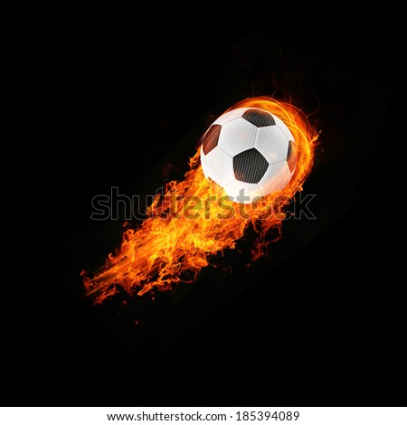 expressive 3d blazing football energy Object - stock photo