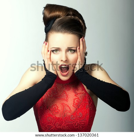 Expressive Emotions. Bemused Woman's Face with Opened Mouth. Stare - stock photo