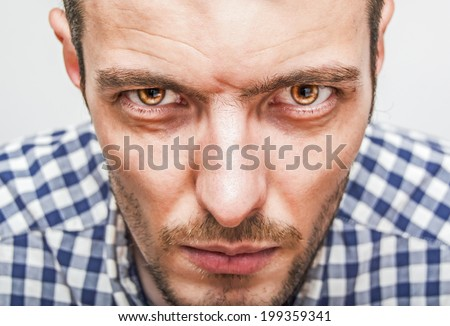 Expressive man portrait closeup - stock photo