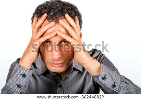 expressive man suffering portrait isolated on white background - stock photo