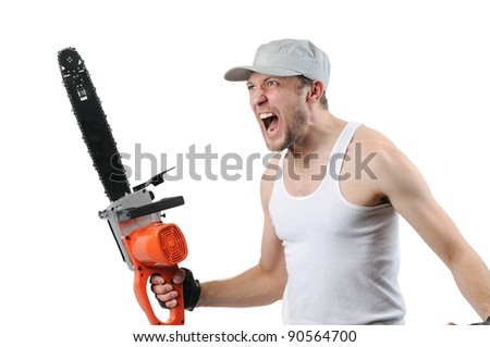 Expressive man with electric saw on white background - stock photo