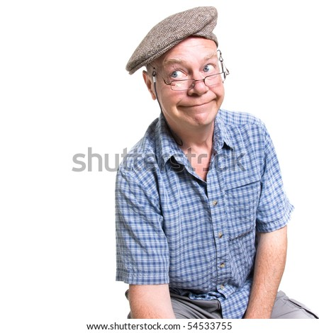 Expressive old man ogling isolated against white background. - stock photo