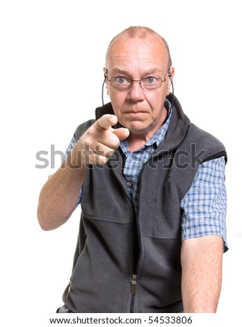 Expressive old man pointing isolated against white background. - stock photo