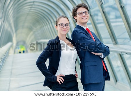 expressive portrait Junior executives leaders of company crossed arms - stock photo