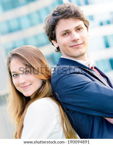 expressive portrait Junior executives of company crossed arms - stock photo