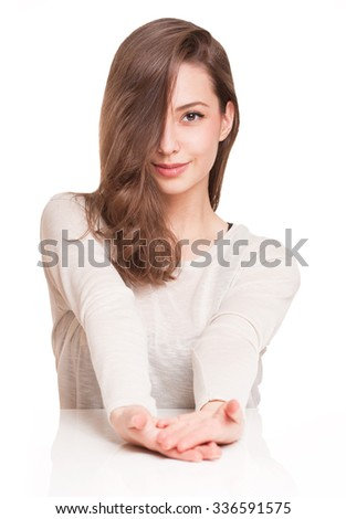 Expressive portrait of a sweet cool brunette beauty. - stock photo