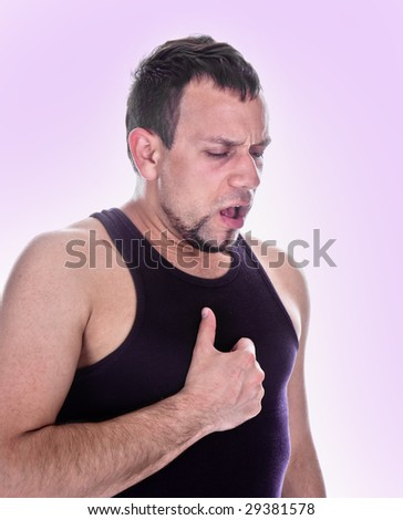 expressive portrait of man who has chest pain - stock photo
