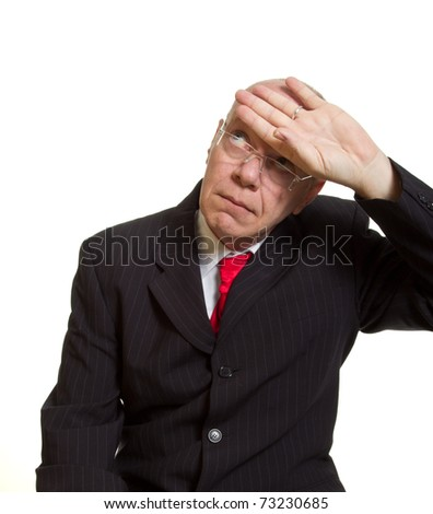 Expressive senior businessman isolated on white feeling faint concept