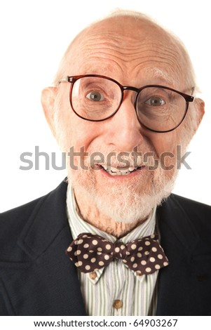 Expressive Senior Man with Bow Tie on White Background