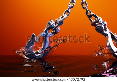 Expressive  splash with hook, orange background - stock photo