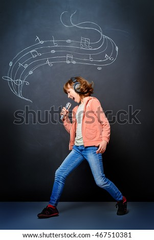 Expressive teen girl enjoys singing a song with microphone. Generation. Studio shot.