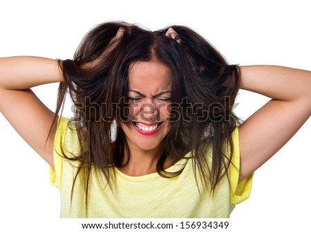 expressive woman isolated on white - stock photo