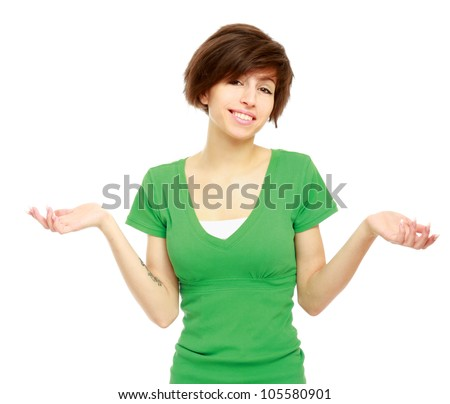 Expressive young  woman, isolated on white background - stock photo
