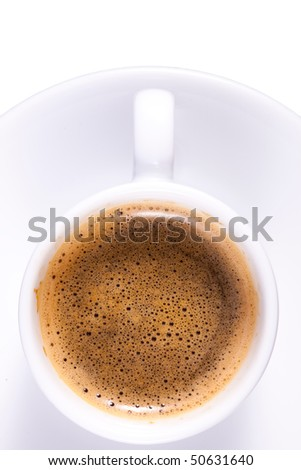 Expresso Coffee in Plain White Cup Tight Crop - stock photo