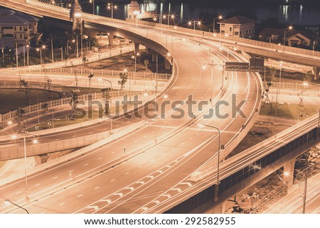 Expressway and Highway on night  from top view, Thailand - stock photo