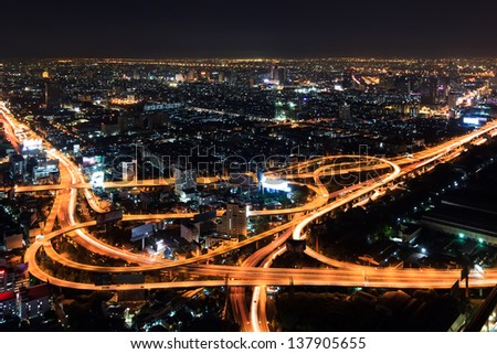Expressway in downtown at night bangkok, thailand - stock photo