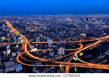 Expressway in downtown at twilight, bangkok, thailand - stock photo