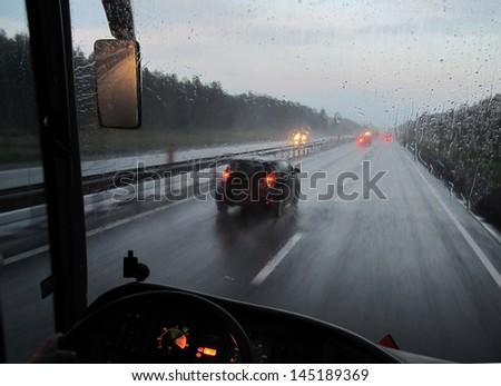 expressway in rainy twilight - stock photo