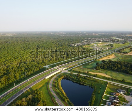 Expressway transportation system/Florida Roads/ Aerial view of Florida highway corridor near Orlando Florida