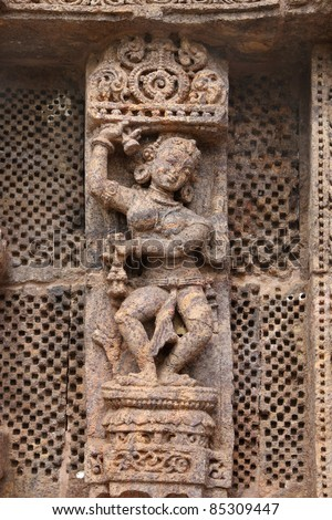 Exquisite carved lady dancer, Sun temple Konark - stock photo
