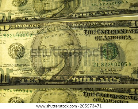 Exquisite Close Up Of A Back Lit United States Ten Dollar Notes. Beautifully eye catching image.
