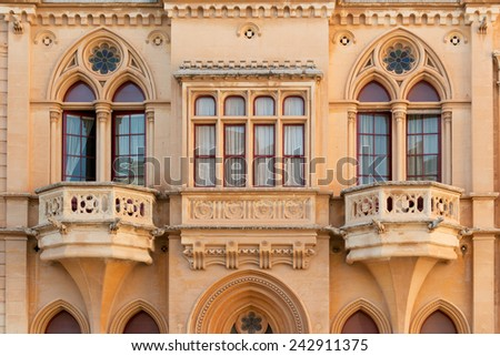 Exquisite facade of old Maltese house in ancient Mdina  - stock photo