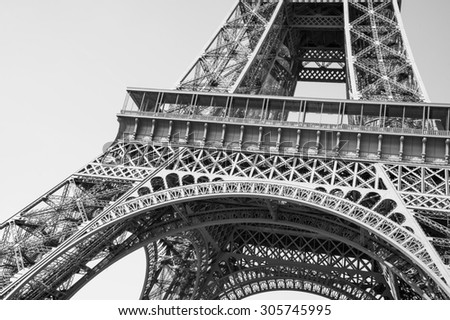 Exquisite ironwork details of Eiffel tower, Paris, France - stock photo