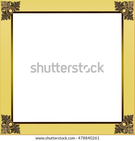 Exquisite picture frame or border with gold patterned corners and golden yellow border
