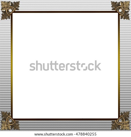 Exquisite picture frame or border with gold patterned corners and grey border
