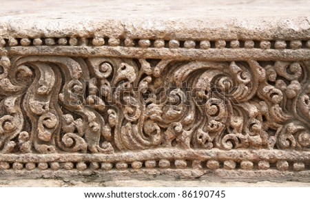 Exquisitely fine carvings at Sun temple Konark - stock photo