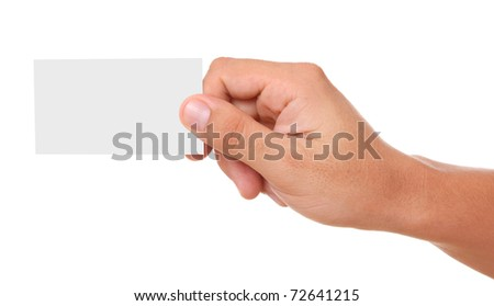 Extended hand a business card empty over white background - stock photo