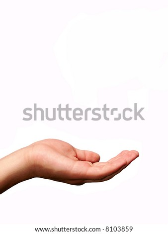 Extended hand for alms on a white background - stock photo