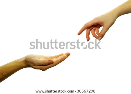 Extended hand for help - stock photo