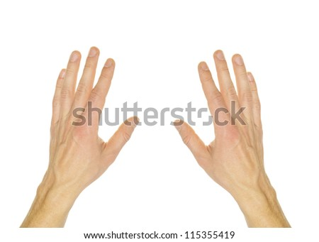 Extended hand for help on a white background - stock photo