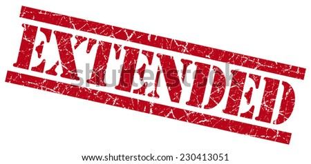 extended red grungy stamp isolated on white background - stock photo