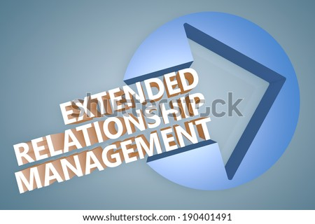 Extended Relationship Management - text 3d render illustration concept with a arrow in a circle on blue-grey background