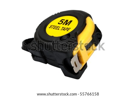 Extended retractable Tape Measure isolated on white background - stock photo