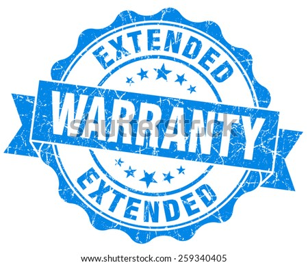 extended warranty blue grunge seal isolated on white - stock photo