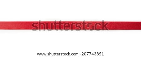 Extending simple red ribbon, isolated on white.  - stock photo