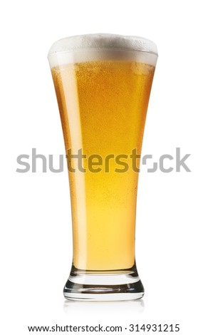 Extending up glass of beer isolated on white background