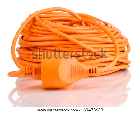Extension cable isolated on white - stock photo