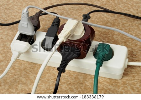 Extension cord with multiple european plugs - stock photo
