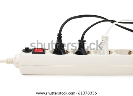 Extension cord with plugs isolated over white - stock photo