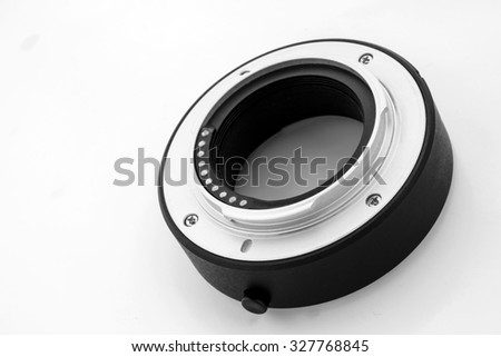 extension tube used for macro photography  on white background