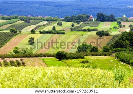 Extensive rural landscape with patches of fields, orchards and hedges  - stock photo