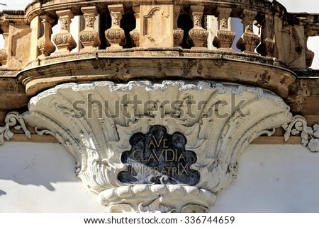 Exterior architectural details of the Eggenberg castle, Graz, Austria. - stock photo