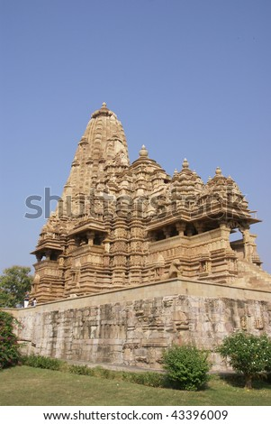 Exterior decorations of the  Kandariya Mahadeva Temple at  Khajuraho in  India, Asia