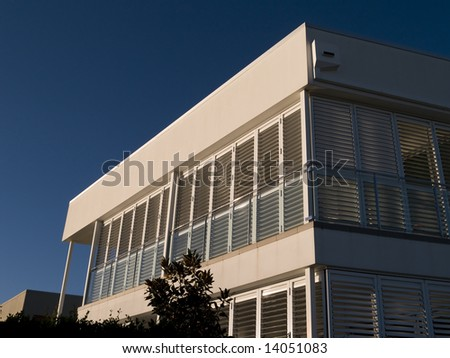 Exterior detail of awning and facade of a modern home